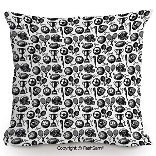 """Decorative Throw Pillow Cover Monochrome Trophy Baseball Glove Ping Pong Ball Sketch Style Bat Tournament Inspired for Pillow Cover for Living Room(16"""" Wx16 L)"""