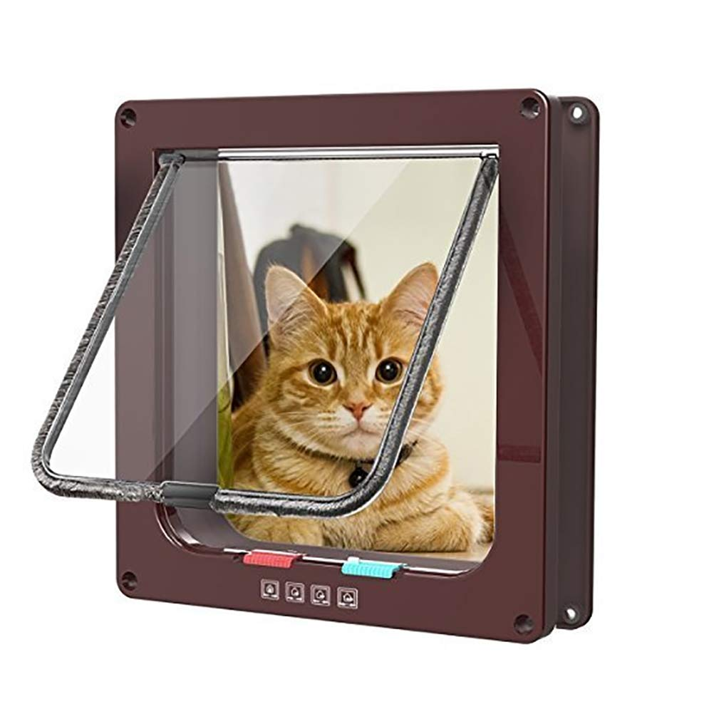 L Magnetic Pet Cat Dog Flap Door,4 Way Lockable Safe ABS Pets Door for Pet Care