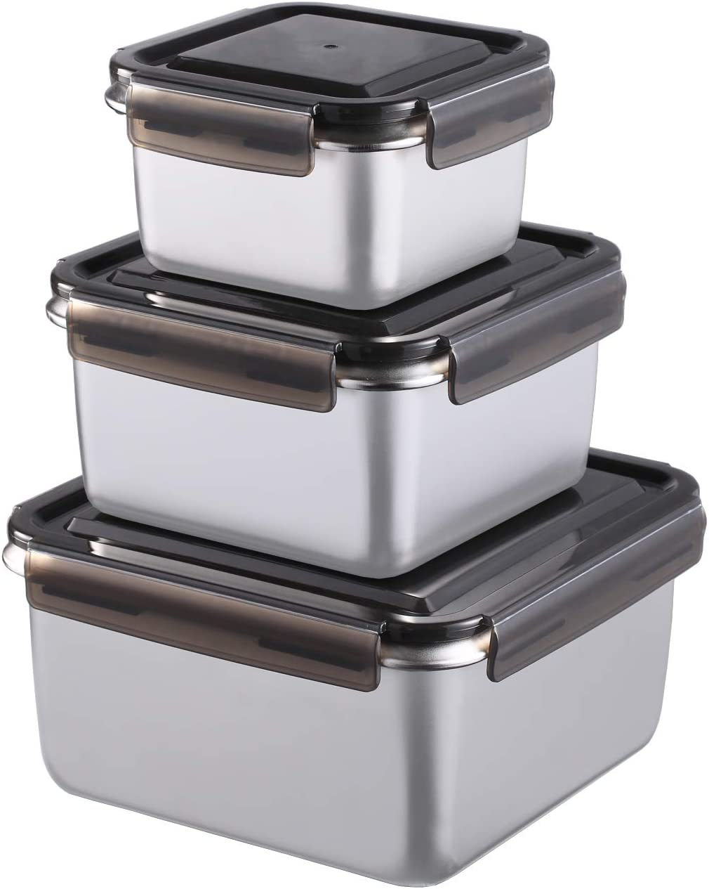 316 Medical Stainless Steel Food Containers - 5050ml Total Capacity Set of 3 Sizes Kimchi Storage Lunch Box with Sealed Lid - Freezer & Dishwasher Safe - for Fruit, Sandwich, Pickles, Picnic, Camping