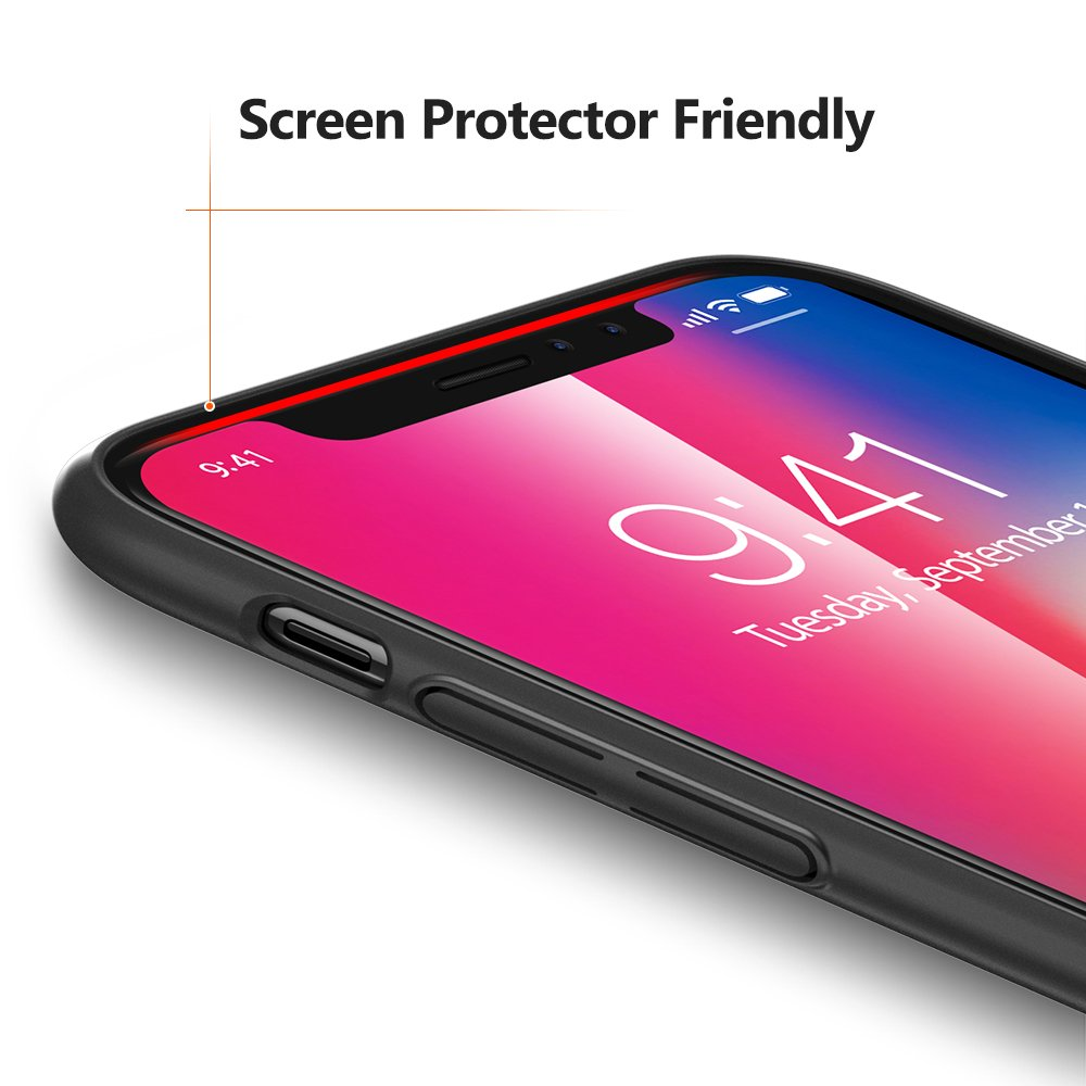 TORRAS Slim Fit iPhone Xs Case/iPhone X Case, Hard Plastic PC Ultra Thin Mobile Phone Cover Case with Matte Finish Coating Grip Compatible with iPhone X/iPhone Xs 5.8 inch, Space Black by TORRAS (Image #3)