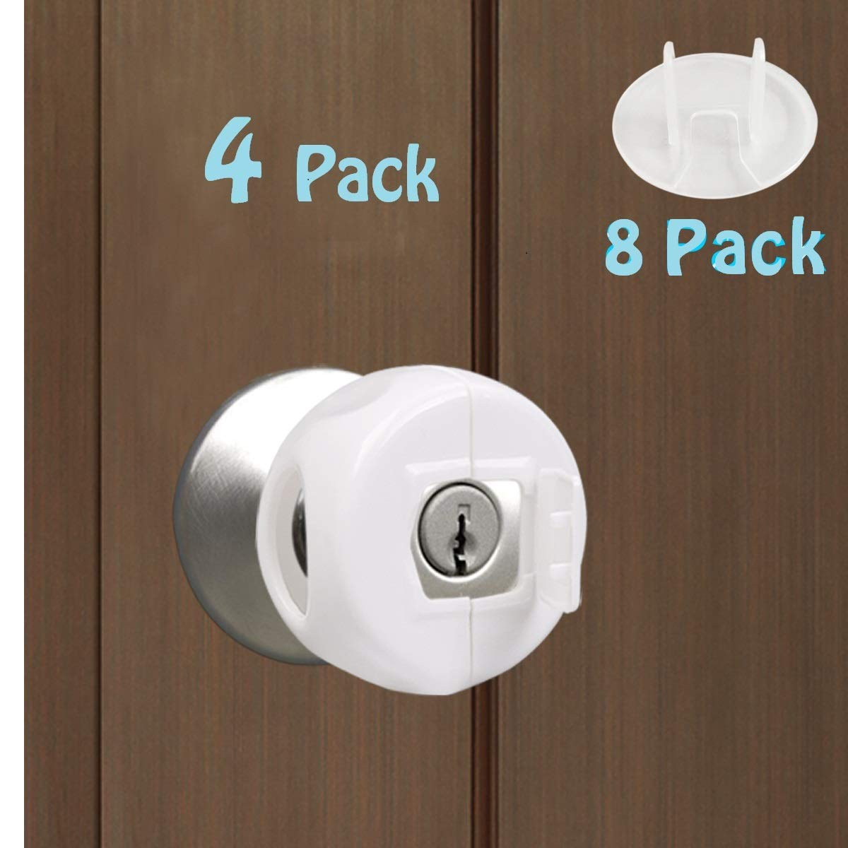 OWMMIZ Door Knob Safety Cover with Lock Cover, Baby Safety Proofing Child Proof Door Handle Covers with 8 Pack Outlets Covers, 4 Pack