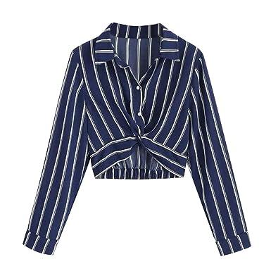 1b98fa882ac FNKDOR Women Sexy Striped Long Sleeve Tops Turn-Down Collar Button Stripe Shirt  Crop Blouse Tunic (,): Amazon.co.uk: Clothing