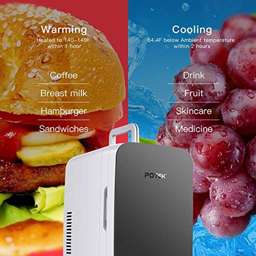 POTEK Mini Fridge Electric Cooler and Warmer (6 Liter / 6 Can) :AC 110V/ DC 12V Portable Thermoelectric System,For Car /Indoor /Outdoor (Silver Grey) by POTEK (Image #2)