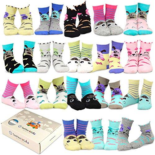 TeeHee Kids Girls Fashion Cotton Fun Crew 18 Pair Pack Gift Box (6-8Y, Cat-Dog-Pig ()