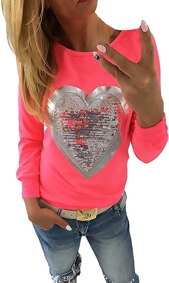 Camisetas Mujer Camisetas Manga Larga Cuello Redondo Suelto Elegantes con Corazón Lentejuelas Básicas Vintage Fashion Camiseta Camisa T Shirt Blouse Blusa De Mujeres: Amazon.es: Ropa y accesorios