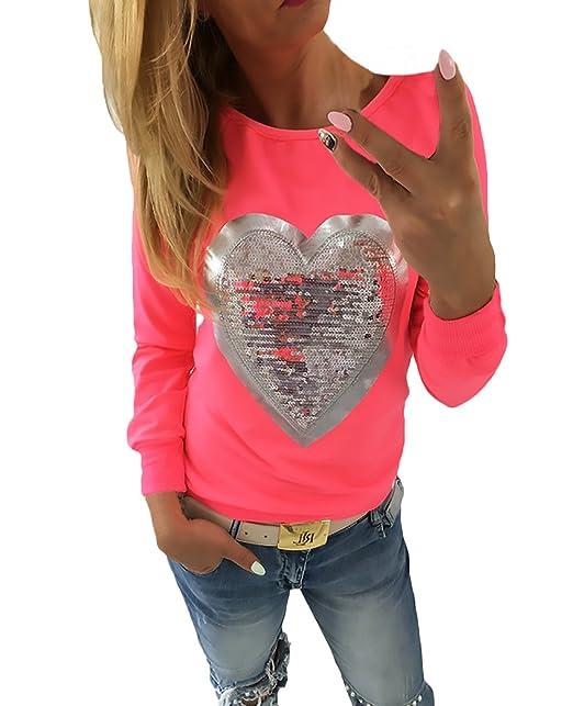 Camisetas Mujer Camisetas Manga Larga Cuello Redondo Suelto Elegantes con Corazón Lentejuelas Básicas Vintage Fashion Camiseta Camisa T Shirt Blouse Blusa ...