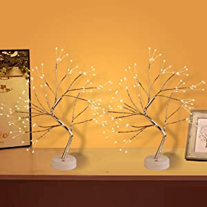 """Yiliaw 20"""" Tabletop Bonsai Tree Light with 108 LED Copper Wire String Lights, Touch Switch,DIY Artificial Tree Lamp,USB or Battery Powered, for Bedroom Desktop Christmas Party Indoor Decoration Lights"""