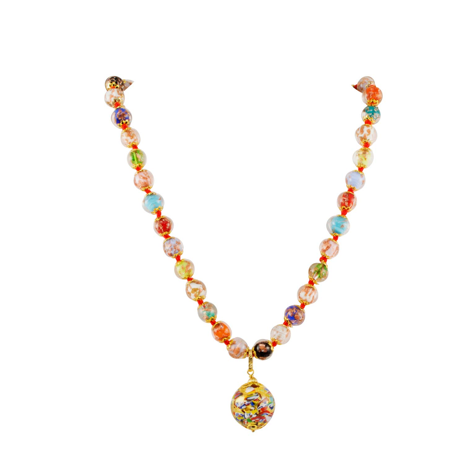Just Give Me Jewels Venice Murano Sommerso Aventurina Glass Bead Strand Klimt Ball Pendant Necklace in Multicolor