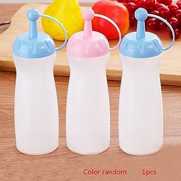 Botella de plástico para apretar, crema de cocina, jarra de agua, dispensador de condimentos de miel, salsa, vinagre, aceite, apretar botella para ensalada: ...