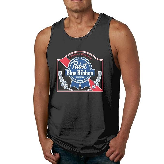 81b4a1d6a Amazon.com: Men's Pabst Blue Ribbon Gym Tank Tops Funny Sleeveless T ...