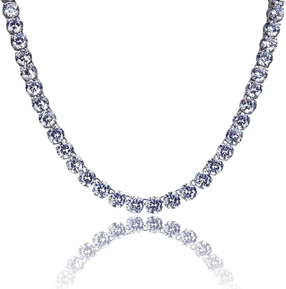 JINAO 18k Gold Plated 1 Row 8MM Lab Simulated Diamond Iced Out Chain Men's Hiphop Tennis Necklace