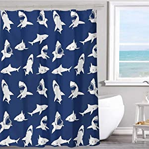 "MKOK Fabric Shower Curtain 72""x78""inchShark,Shark Pattern with Various Gestures Have A Bite Danger Humor Nautical Design,Violet Blue White Print Polyester Fabric Bathroom Decor Sets with Hooks"