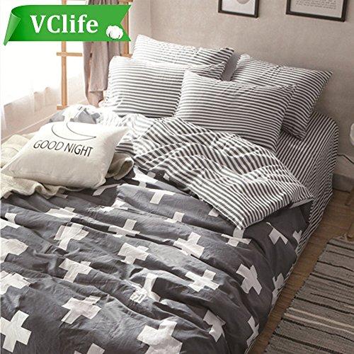VClife Full Striped Duvet Cover Sets Kids Gray Bedding Duvet Cover with 2 Pillow Shams Cozy Cross Geometric Design 100% Cotton Skin-friendly, 90