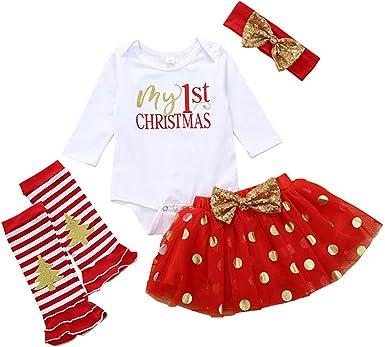 Baohooya Disfraz Elfo Navidad Niñas Niños - Conjuntos Bebe Tutu de ...