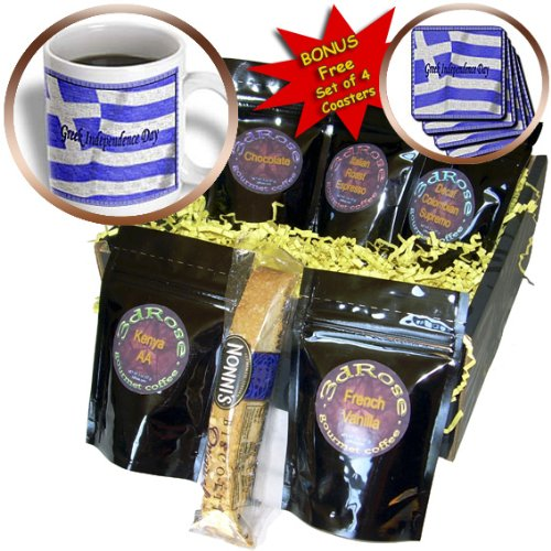 Beverly Turner Design - Greek Indepence Day Flag - Coffee Gift Baskets - Coffee Gift Basket (cgb_16332_1)