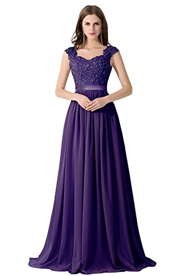 Misshow Womens Lace Applique Bridesmaid Prom Dresses (Purple, ...