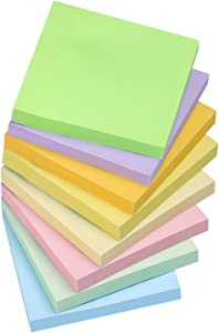 Sticky Notes 3x3 Inches, Light Colors Self-Stick Pads, Easy to Post for Home, Office, Notebook, 8 Pads/Pack