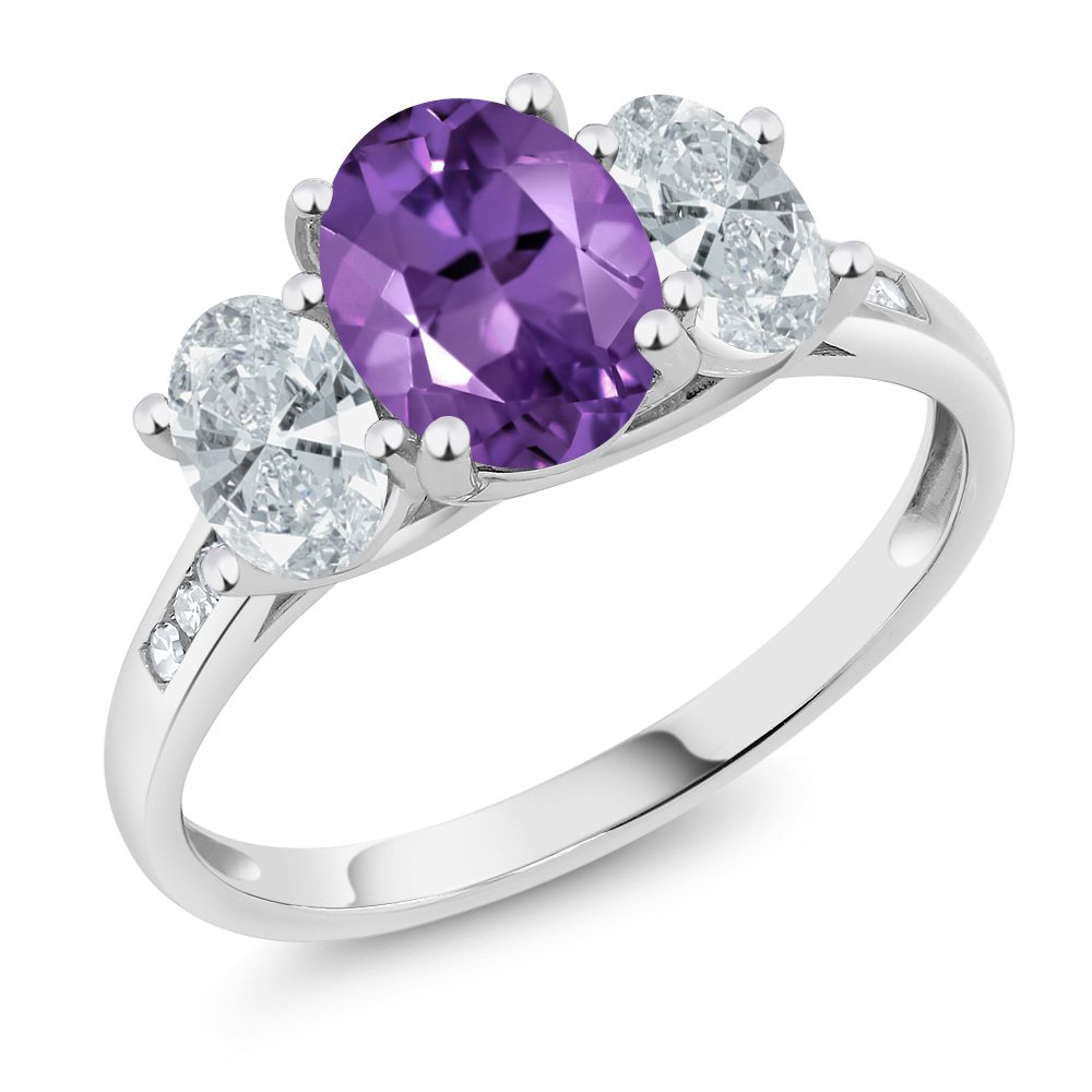 10K White Gold Diamond Accent Purple Amethyst 3-Stone Ring 1.86 Ct, Available in size (5,6,7,8,9)