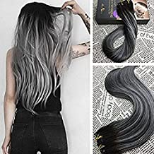 Moresoo 22 inch 7cs/120g Clip in Double Weft Human Hair Extensions Remy Hair Balayage Color Off Black #1B to Silver Grey Clip in Human Hair Extensions Full Head Set Hair Extensions