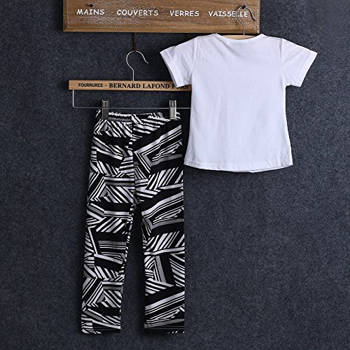 Baby Girls Zebra-stripe White T-shirt+pants Two-pieces Outfits Set 2-9y (8-9 Years, Black&white)