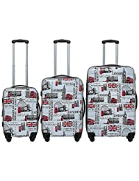 ICE CANADA 3-Piece Luggage Set - Large, Medium and Carry On Suitcase with Wheels, Lock, and Telescopic Handle (LONDON II)