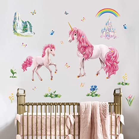 Unicorn  Wall Mural Fairytale Forest Photo Wallpaper Girls Bedroom Home Decor
