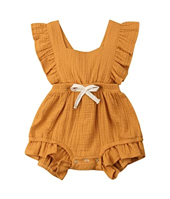 4da571c861ef Qiylii Infant Baby Girl Ruffle Sleeve Romper One-Piece Bowknot Cotton  Bodysuit Jumpsuit Outfit Clothes