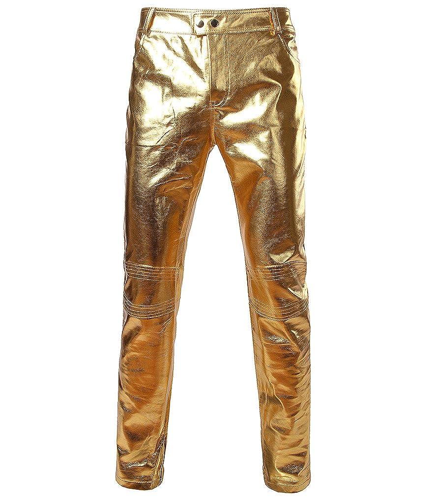 Choose Men Metallic Shiny Slim Fit Pants