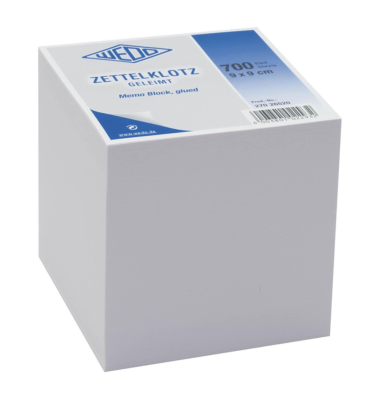 wei/ß Wedo 27026520 Notiz-Zettelklotz geleimt holzfrei, 9 x 9 cm, 700 Blatt