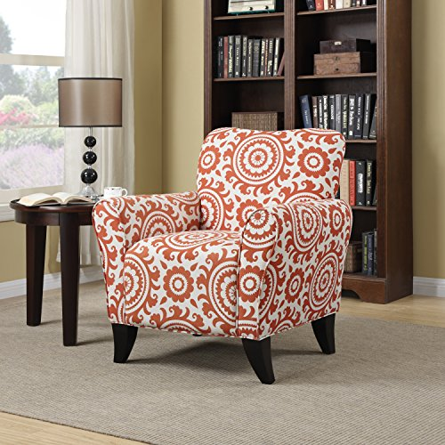 Unique Portfolio Seth Orange Spice Medallion Curved Back Arm Chair in Orange