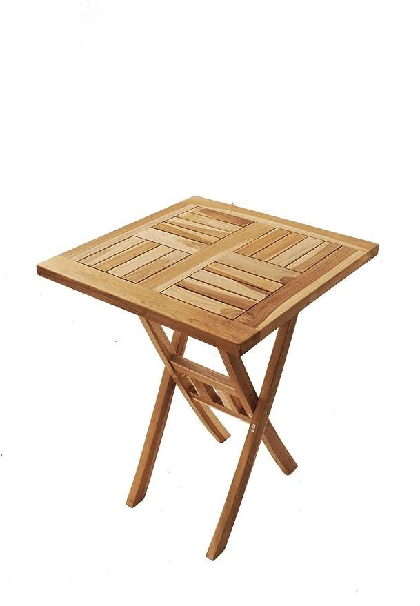 SAM® Mesa para balcón Cuadrada en Madera de Teca, Mesa para el jardín con Medida 60 x 60 cm Plegable y fácil de Colocar: Amazon.es: Jardín