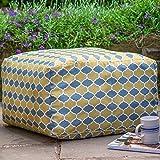 Izabela Peters Designer Waterproof Moroccan Garden Outdoor Rectangluar Pouffe - Grey & Mustard Badi, Marrakech Collection - Designed, Printed & Handmade in the UK