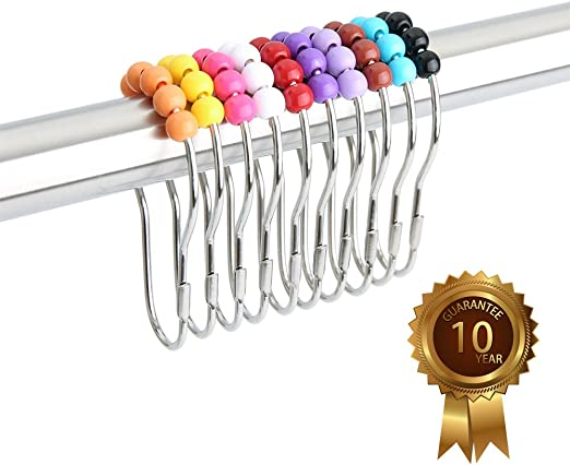 Lot de 36 Chrome Rideau de douche Crochets//Anneaux