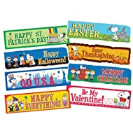 Eureka Peanuts Holidays Bulletin Board Set, Back to School Classroom Decorations, 6.5''x0.1'' x 26'', 8 pc