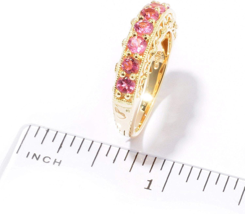 Pinctore 18K Yellow Gold o Silver .89ctw Pink Tourmaline Nine Stone Band Ring