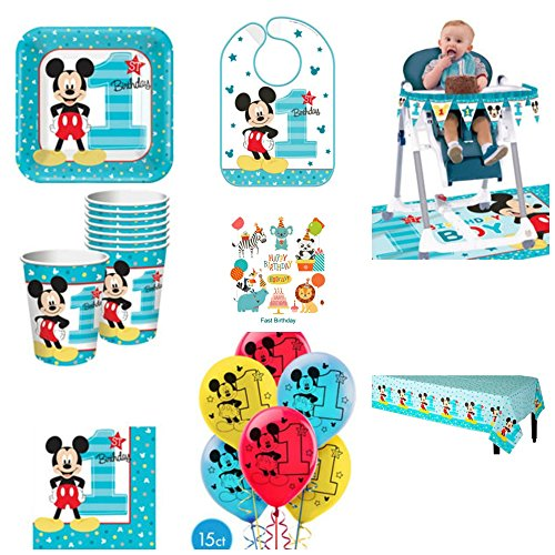 1st Birthday Mickey Mouse Party Supplies Pack Including