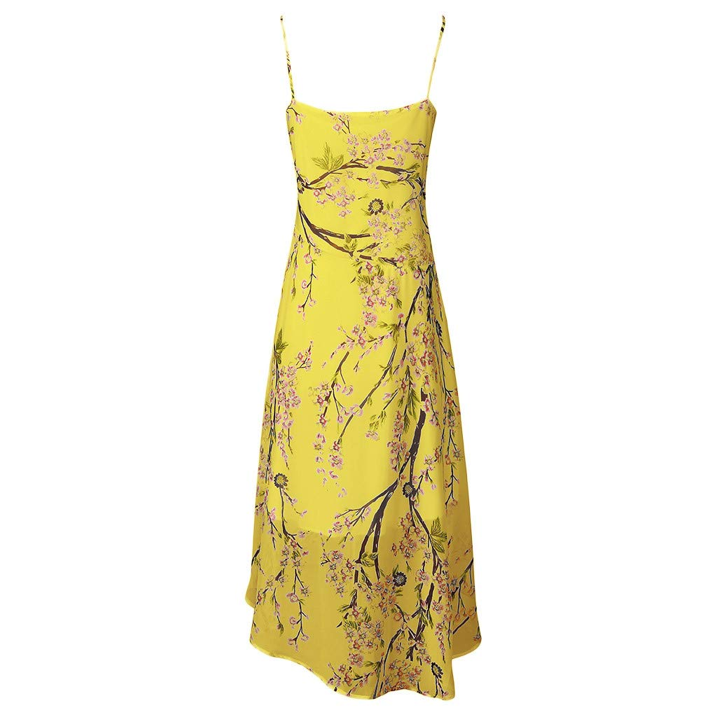 TOPSELD Casual Women Dresses,Womens Casual Plus Size V-Neck Print Stitching Sling Waist Irregular Dress