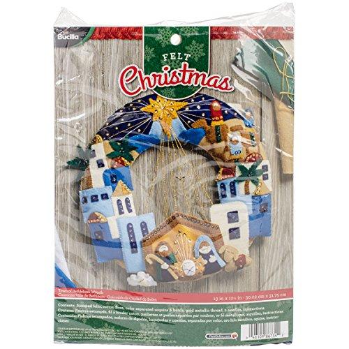 BUCILLA 86734 Felt Applique Wreath Town of Bethlehem, Size 13'' X 12.5'' by Bucilla