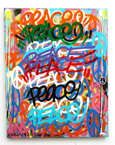 CHRIS RIGGS Original Peace painting 46 x 26 pop street art spray paint NYC acrylic contemporary modern art urban canvas fine art