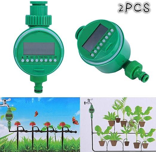 GOTOTOP programador riego automático eléctrico contador con pantalla digital para jardín césped: Amazon.es: Jardín