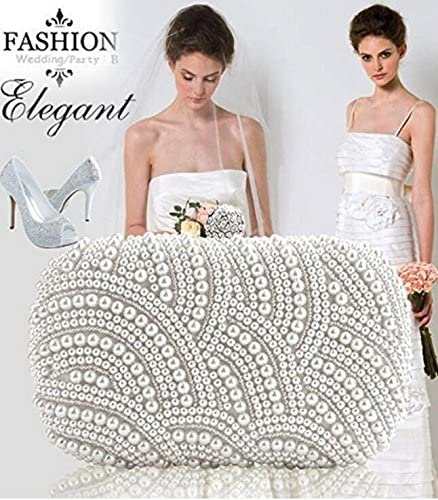 TMERY Fashion Bridal Handbag Clutch Bag Beaded Party Wedding Evening Purse