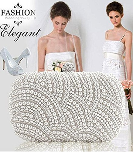 Kingwin elegante perla cuentas bolsa de embrague Fiesta Novia Bolso de mano Wedding Evening bolso de mano–blanco