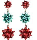 VK Accessories 3 Pairs Christmas Earring Different Styles Bow Shape Santa Reindeer Earrings