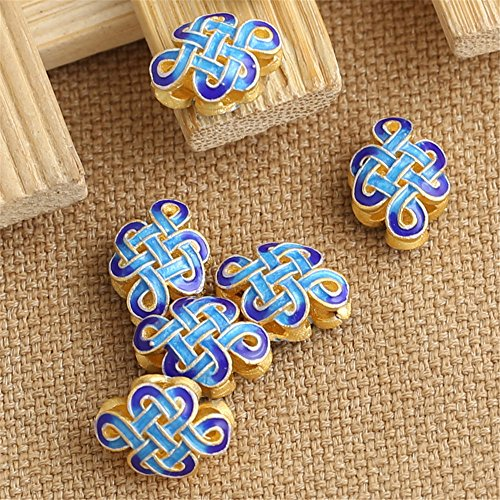 Luoyi 2pcs Golden Plated Sterling Silver Flat Beads, Chinese Knot Cloisonne Spacer Beads, 13*9mm, Hole: 1.5mm (T022L)