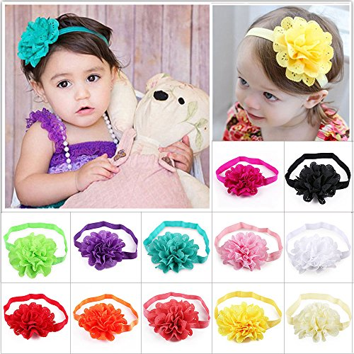 DOTASI 12pcs Cute Girl Elastic Flower Headband Hair Bow Band for Baby Hair Accessories (Multi-color #4)