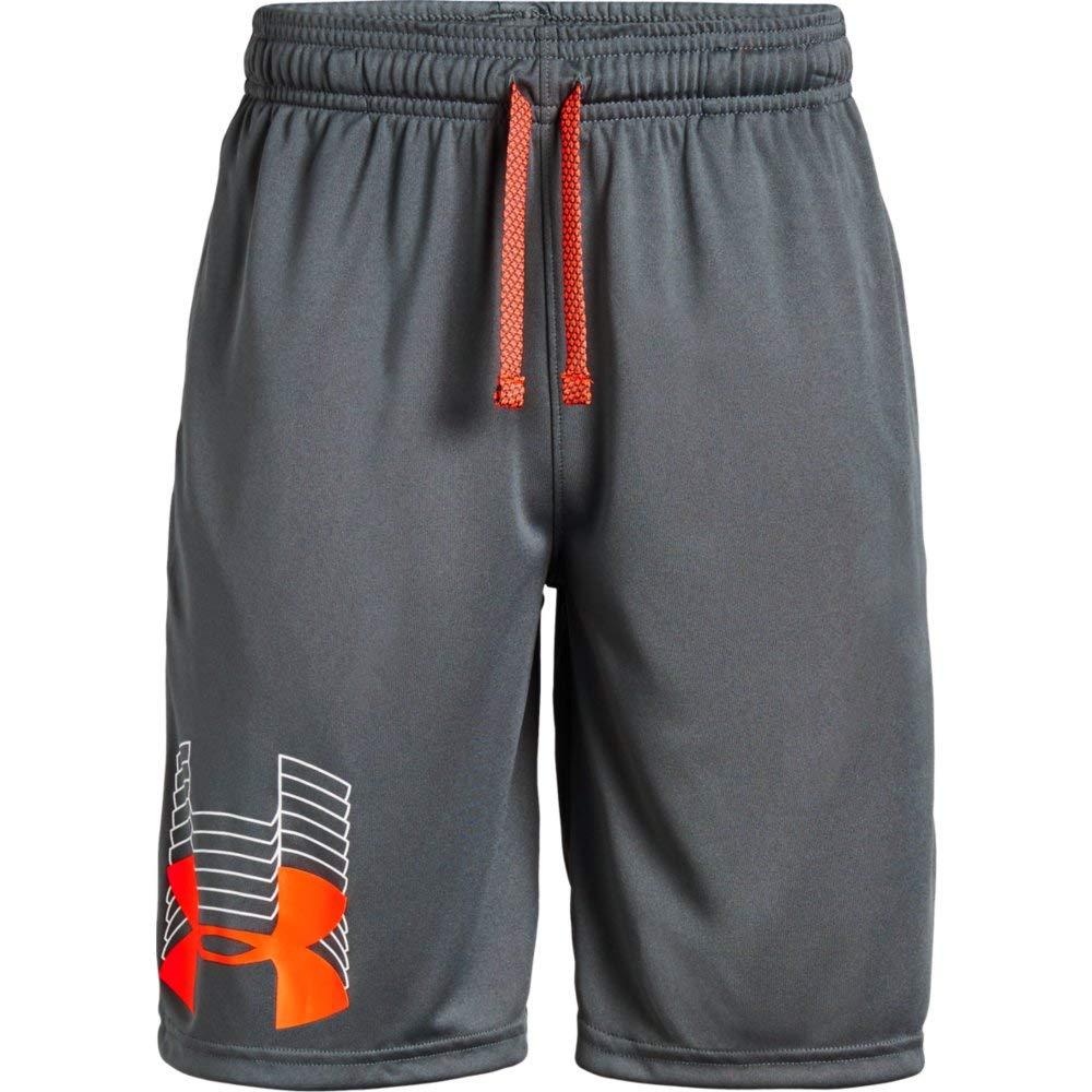 Under Armour Prototype Logo Shorts, Pitch Gray//Orange Glitch, Youth Medium