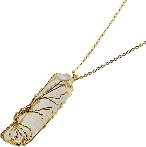 Wire Wrapped Quartz Crystal Pendant Necklace