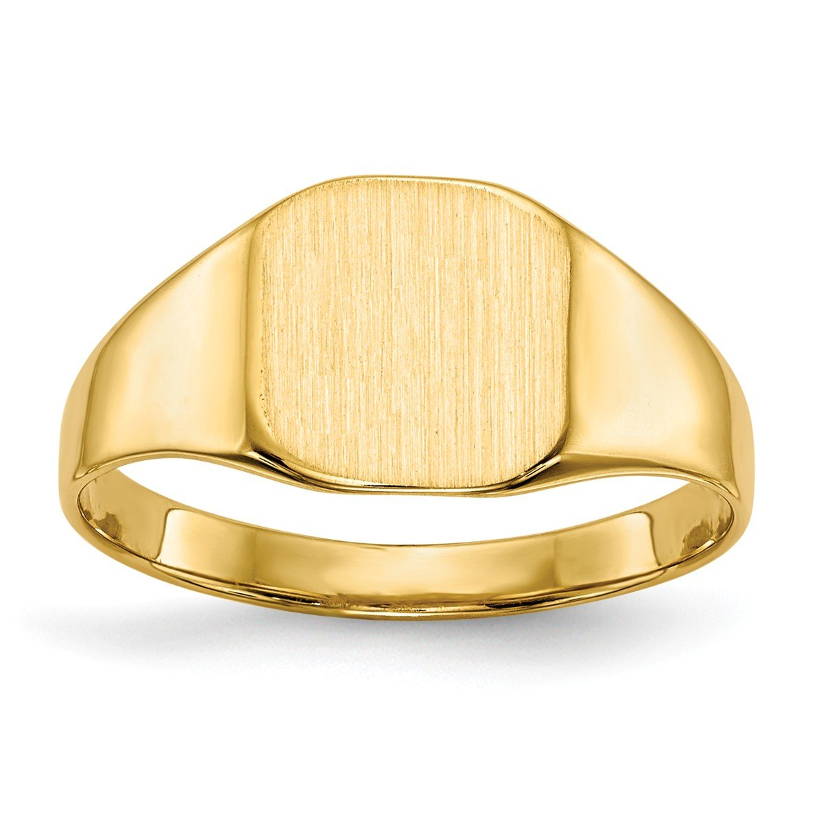 Roy Rose Jewelry 14K Yellow Gold Solid Back Mens or Ladies Signet Ring Custom Personailzed with Free Engraving Available Initial ~ Size 4 by Roy Rose Jewelry