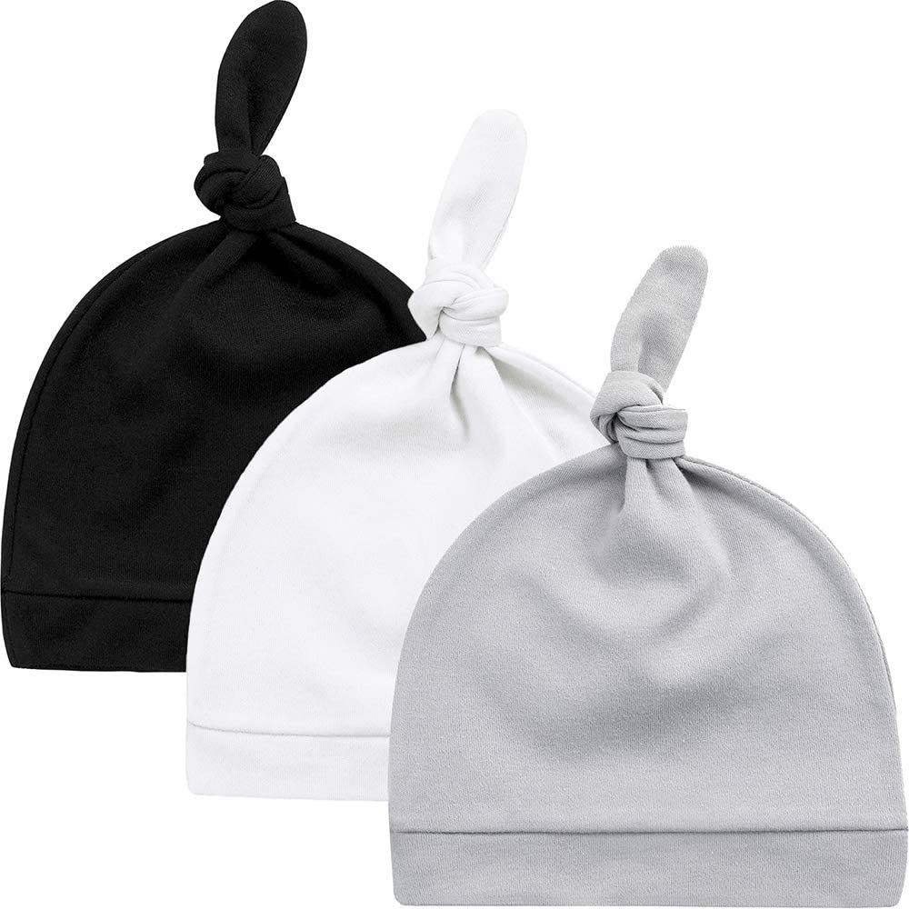 Boys and Girls for 0-6 Months Old Infants Soft /& Warm Knotted Cap 100/% Organic Cotton KiddyCare Baby Hats Newborn