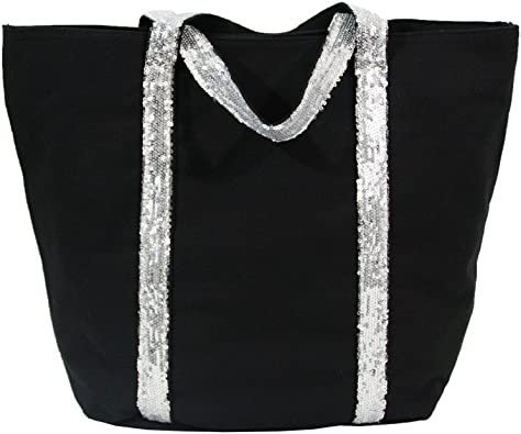 Shopping et Mode Sac à main cabas noir en tissu avec lanières à paillettes Noir, Tissu